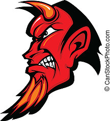 Graphic Mascot Vector Image of a Red Demon Devil Profile with Horns