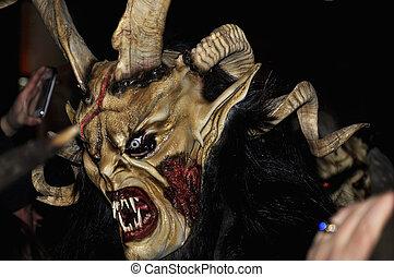 Devil mask. - RETZ, AUSTRIA - DECEMBER 7: Unidentified man...