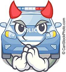 Devil miniature cartoon police car on table