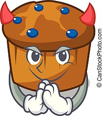 Devil mufin blueberry mascot cartoon