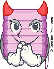 Devil new home window with blinds cartoon