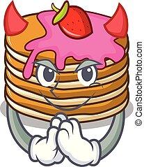 Devil pancake with strawberry mascot cartoon