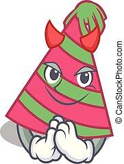 Devil party hat mascot cartoon vector illustration