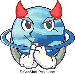 Devil planet uranus in the cartoon form vector illustration