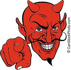 Devil Pointing Cartoon Character - An evil looking devil...