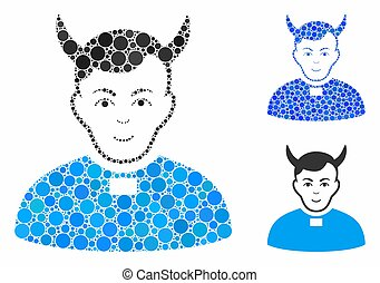Devil priest mosaic of round dots in variable sizes and color tones, based on devil priest icon. Vector round elements are organized into blue mosaic.