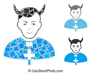 Devil priest mosaic of trembly pieces in variable sizes and color tones, based on devil priest icon. Vector trembly pieces are united into illustration. Devil priest icons collage with dotted pattern.
