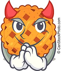 Devil pumpkin pie isolated in the mascot vector illustration
