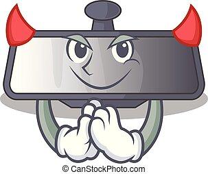 Devil rear view mirror in cartoon car