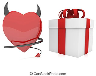 Devil red heart with horn and tail near gift box