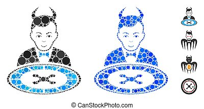 Devil roulette dealer mosaic of small circles in different sizes and color tinges, based on devil roulette dealer icon. Vector random circles are grouped into blue illustration.