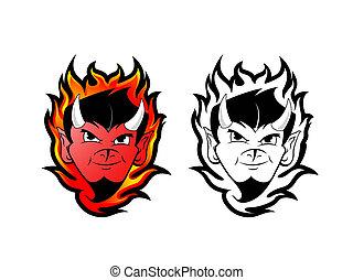 Devil / Satan clip art - fire background with devils tattoo