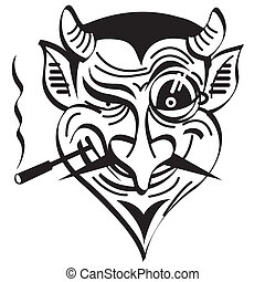 Devil Satan Evil Clip Art Graphic - Devil or Satan smoking a...
