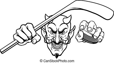 Devil Satan Ice Hockey Sports Mascot Cartoon