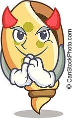 Devil sea shell mascot cartoon
