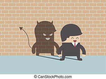 Devil shadow behind smiling busines