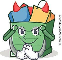 Devil shopping basket character cartoon