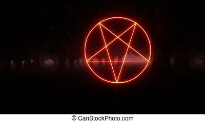 Devil sign red five-pointed star in a gloomy forest 4k