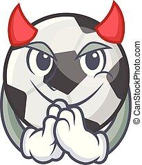 Devil soccer ball in a cartoon basket