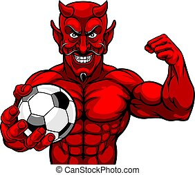 Devil Soccer Football Sports Mascot Holding Ball