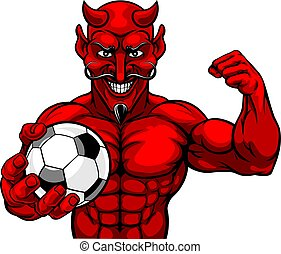 Devil Soccer Football Sports Mascot Holding Ball