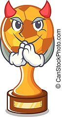 Devil soccer trophy in the cartoon drawer