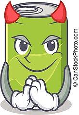 Devil soft drink character cartoon vector illustration