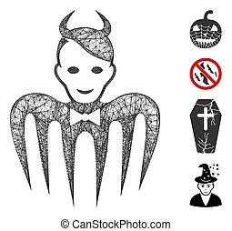 Mesh devil spectre web icon vector illustration. Carcass model is based on devil spectre flat icon. Mesh forms abstract devil spectre flat carcass.