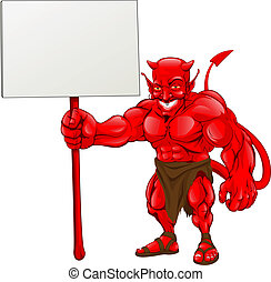 A devil cartoon character illustration standing with sign