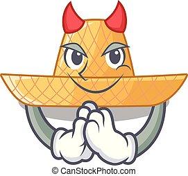 Devil straw hat in a wooden cartoon