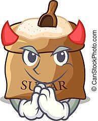 Devil sugar that burlap sack on mascot