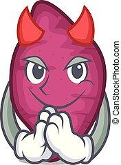 Devil sweet potato mascot cartoon