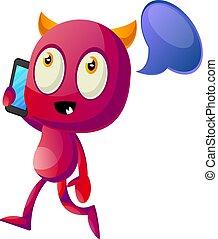 Devil talking on cellphone, illustration, vector on white background.