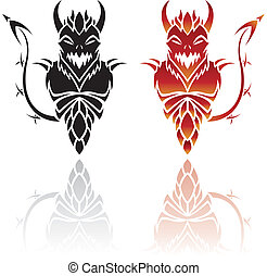 Devil Tattoos isolated on a white background, vector ...