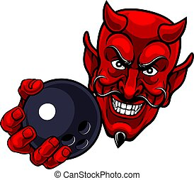 Devil Ten Pin Bowling Ball Sports Mascot Cartoon