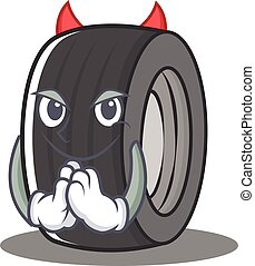 Devil tire character cartoon style