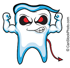 devil tooth -  strong tooth character vector