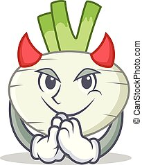 Devil turnip mascot cartoon style