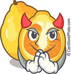 Devil ugli fruit in the cartoon fridge vector illustration