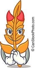 Devil wheat mascot cartoon style