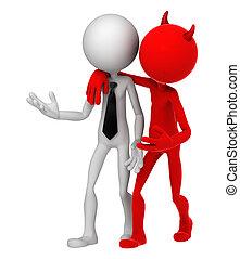 Devil whispering to Businessman. Unfair business metaphor....