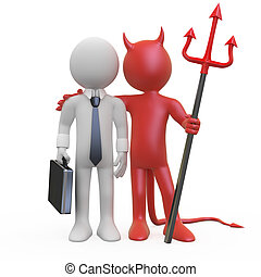 Devil with a businessman who has a deal
