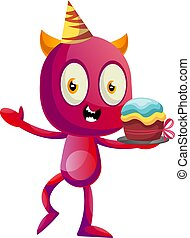Devil with Birthday cake, illustration, vector on white background.