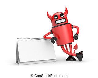 Devil with calendar