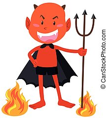 Devil with horns holding trident