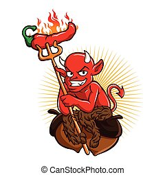Devil with Hot Chili Pepper Cartoon Character