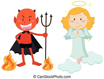 Devil with trident and angel flying