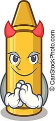 Devil yellow crayon in the cartoon wallet
