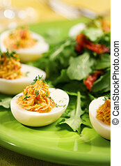 Deviled eggs - Eggs filled with a delicious blend of yolks,...
