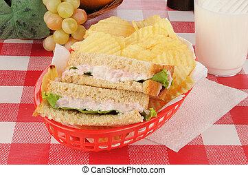 Deviled ham sandwich in a basket